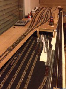 My N-scale layout - Main station  (top) & fiddle yard on lower (bottom)
