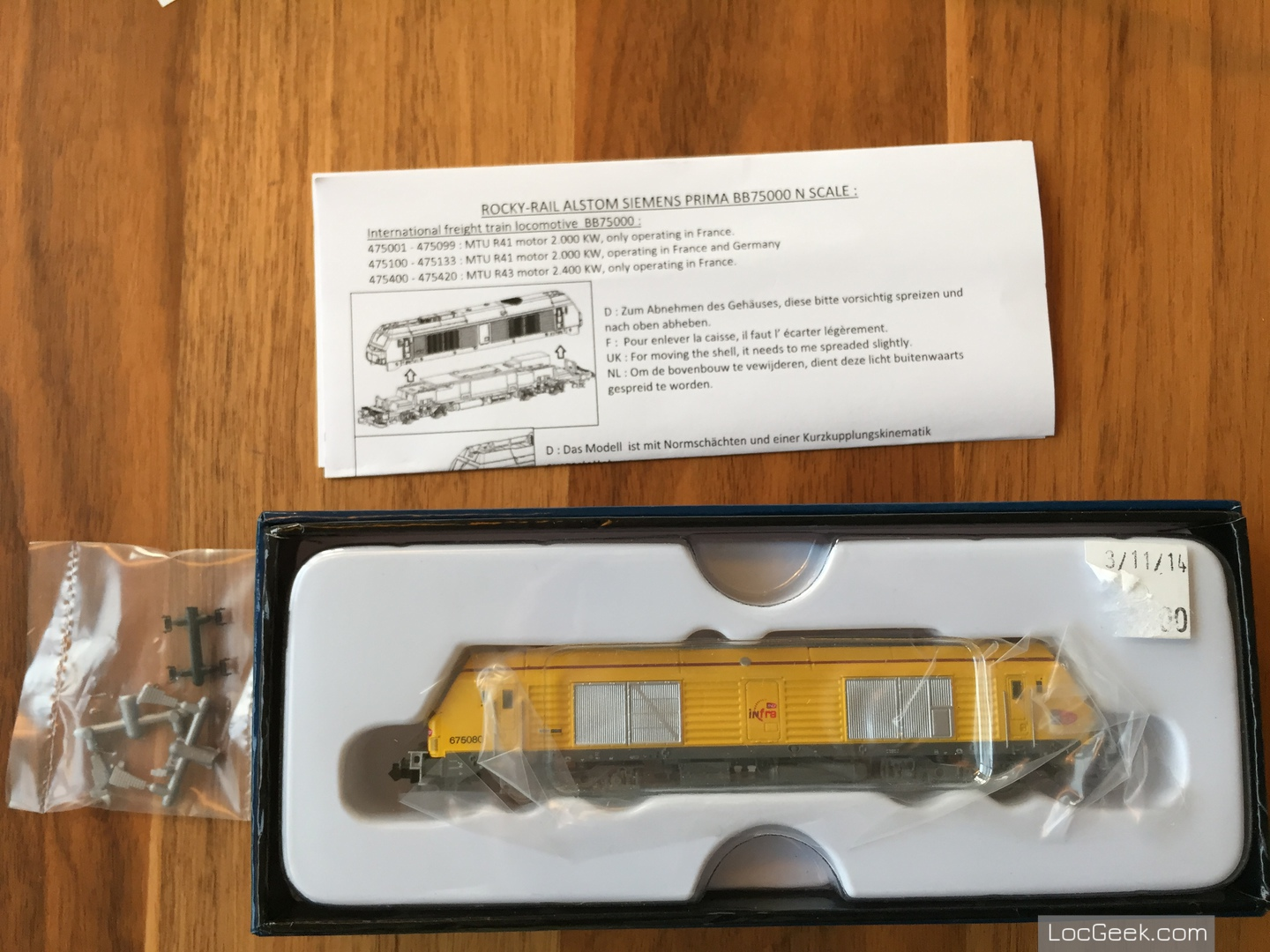RockyRail RR675085 - SNCF BB75000 Prima Infra unboxing